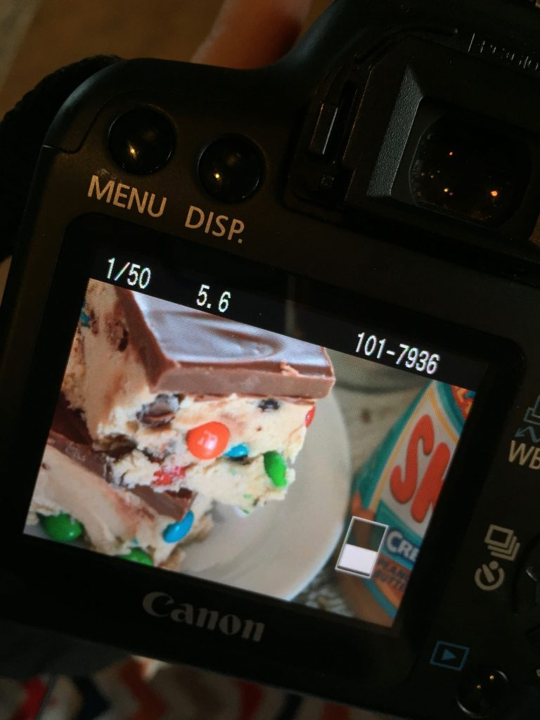 A picture of my picture of my cookie dough squares.