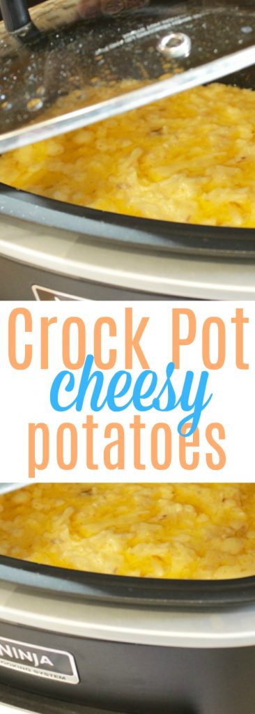 This cheesy hashbrown casserole side dish is SO good! Looking for easy potato side dishes? This crock pot potatoes cheesy recipe is for you!