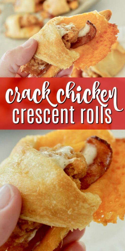 These Crack Chicken Appetizer Crescent Rolls are amazing! They'll fly off your family's plates too! #crackchicken #dinner #recipe