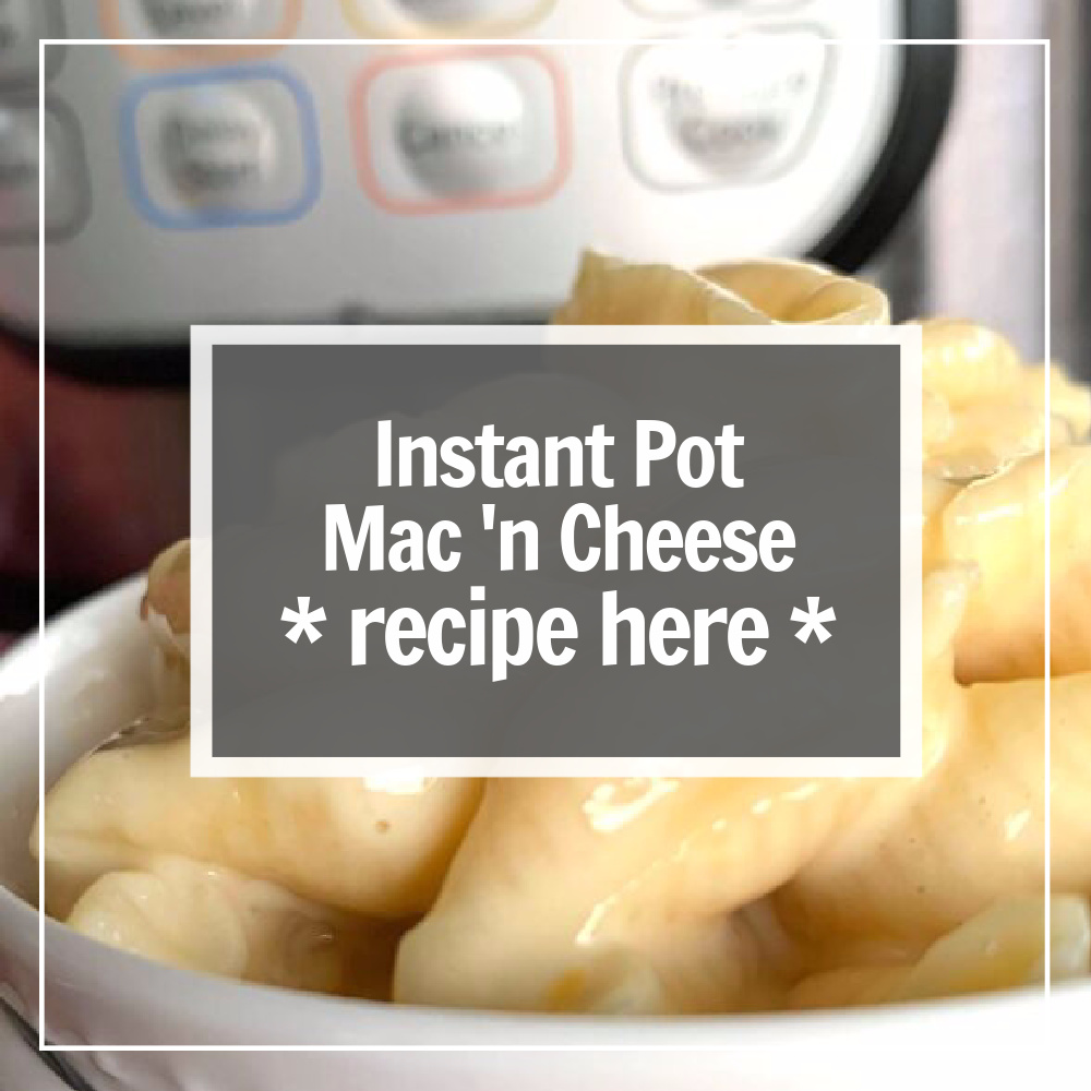macaroni and cheese in a white bowl in front of the Instant Pot
