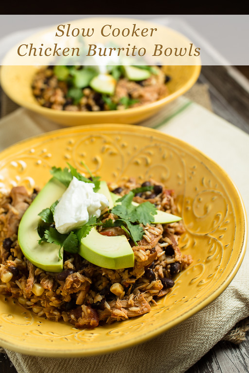 Crock Pot Chicken Chile Burrito Bowls