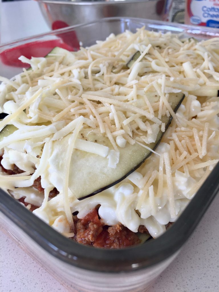 cheese, eggplant, low carb spaghetti sauce and meat layers