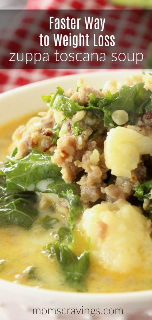 Big bowl of low carb zuppa toscana soup that fits into the faster way to weight loss recipes meal plan