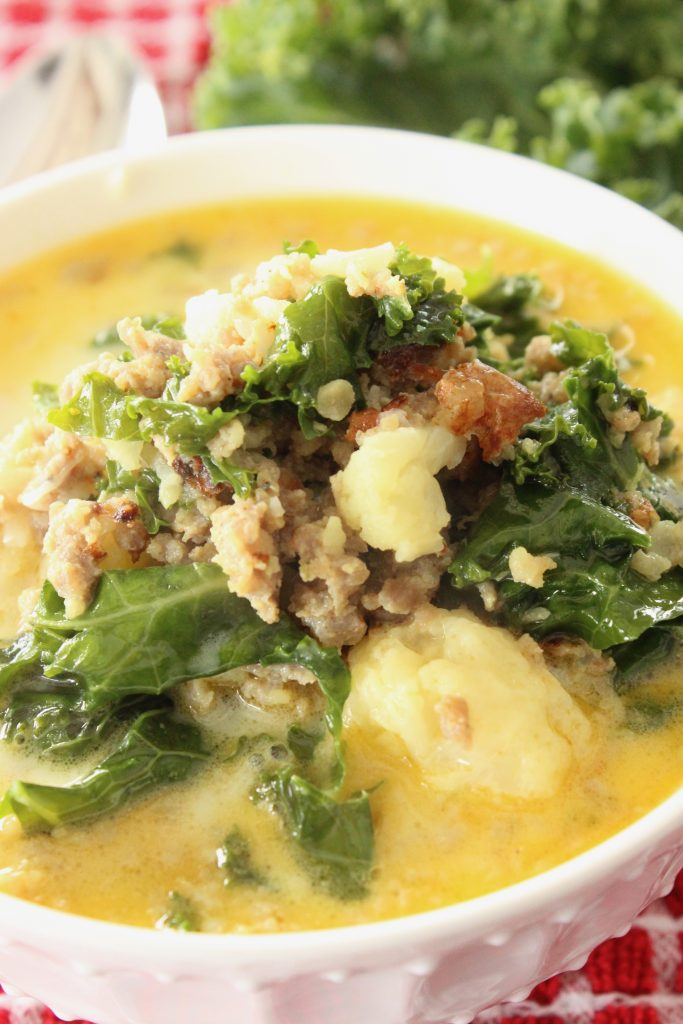 Sausage, cream, kale in zuppa toscana soup keto style