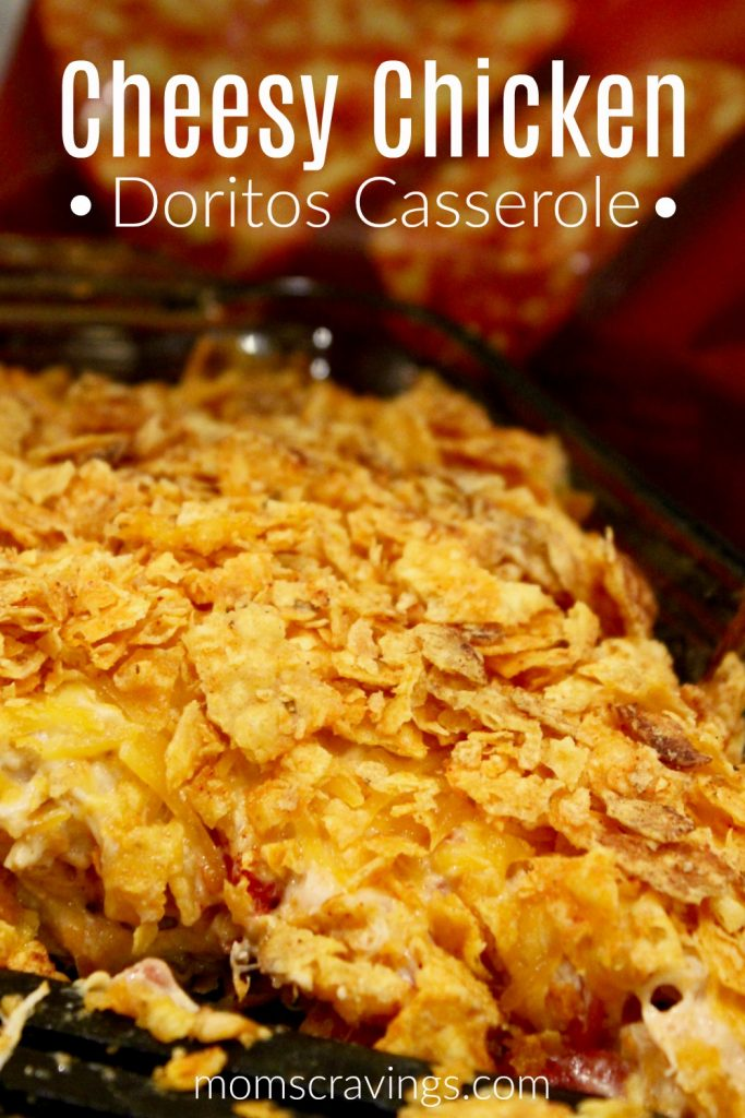 Cheesy Chicken Doritos Casserole in a dish