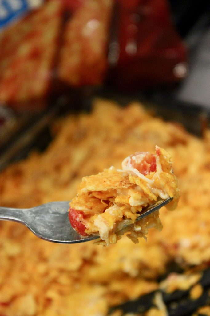 Cheesy chicken dorito casserole that we love on weeknights