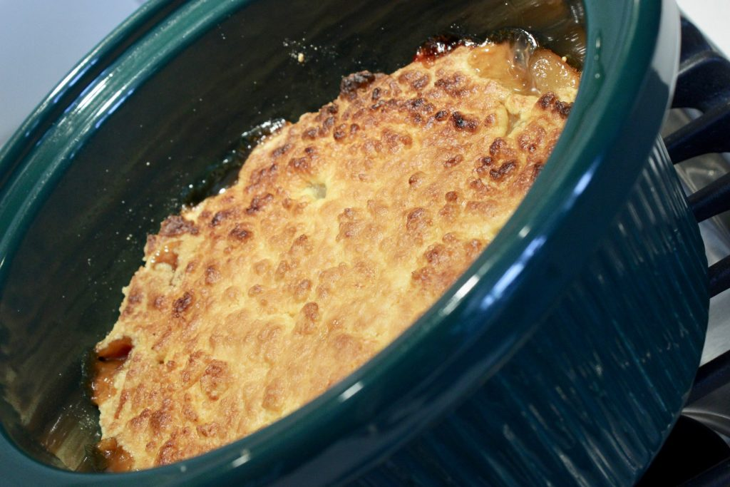 crockpot dump cake after being broiled