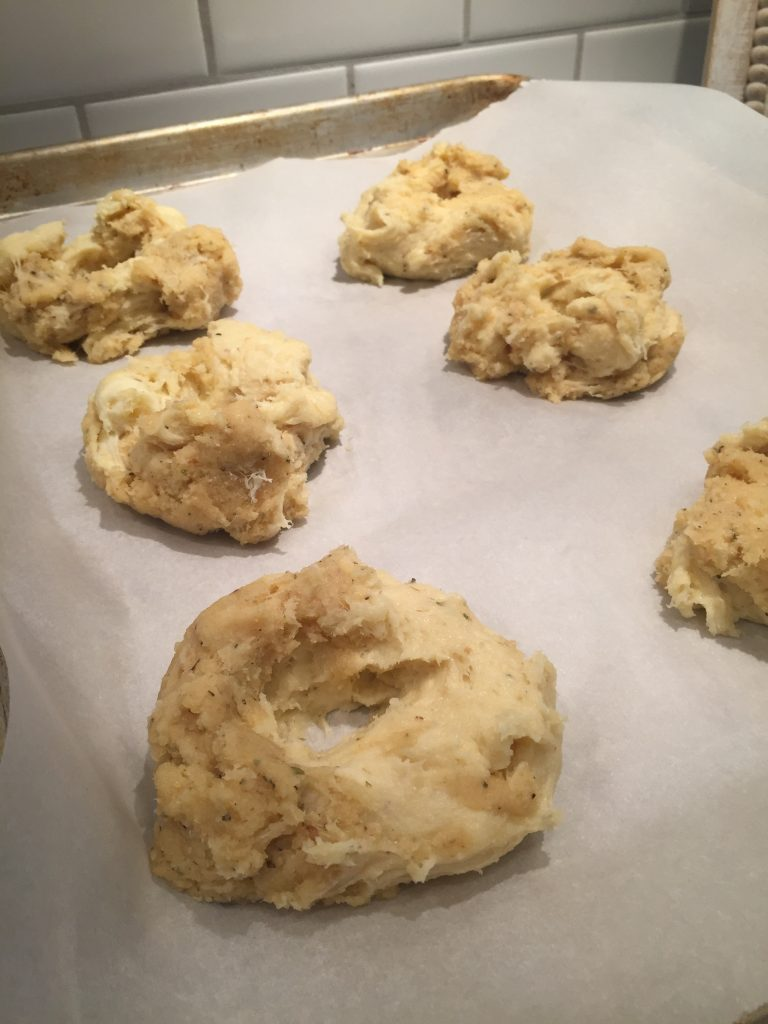 My Keto everything bagels before they get the seasoning put on the tops of them