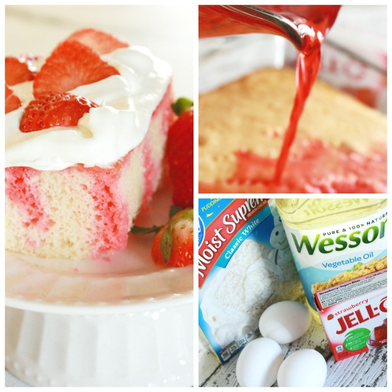 Finished and in process pictures of strawberry poke cake