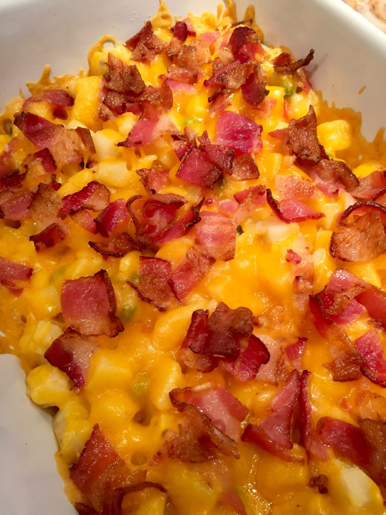 Bacon, cheese and potatoes in this breakfast casserole