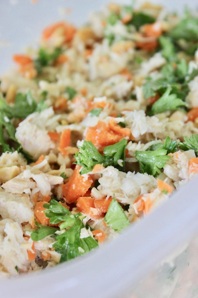 Chicken, parsley, carrots, ginger and garlic
