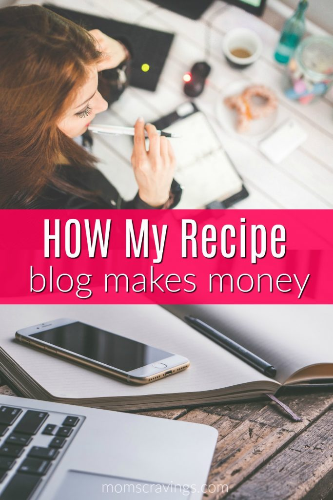 make money online with a recipe blog! Working on my computer