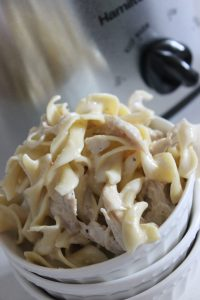chicken alfredo slow cooker pasta done