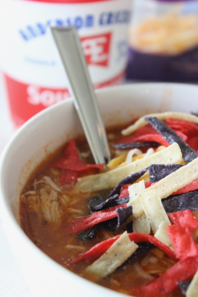 chicken tortilla soup in a bowl with three colors of tortilla strips