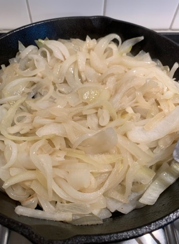 onions cooking for fajitas