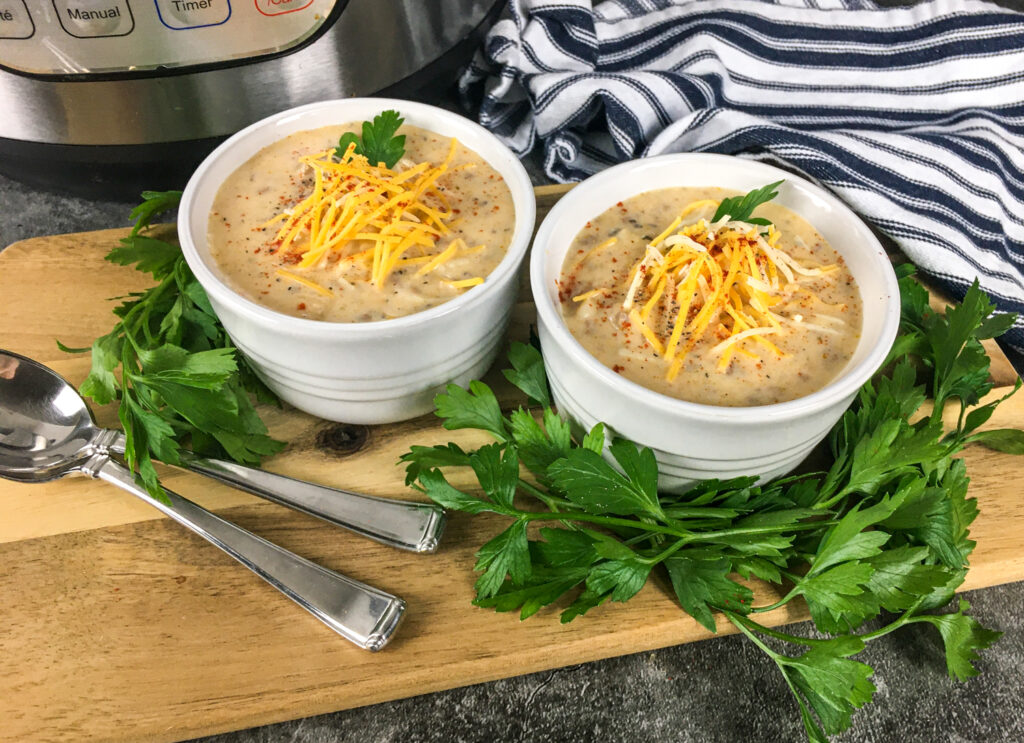 Instant Pot Cheeseburger Soup in Bowls