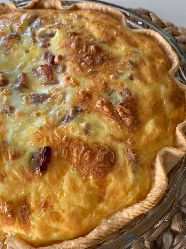 easy ham and bacon breakfast quiche