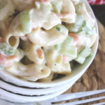 Cold macaroni salad with carrots and celery