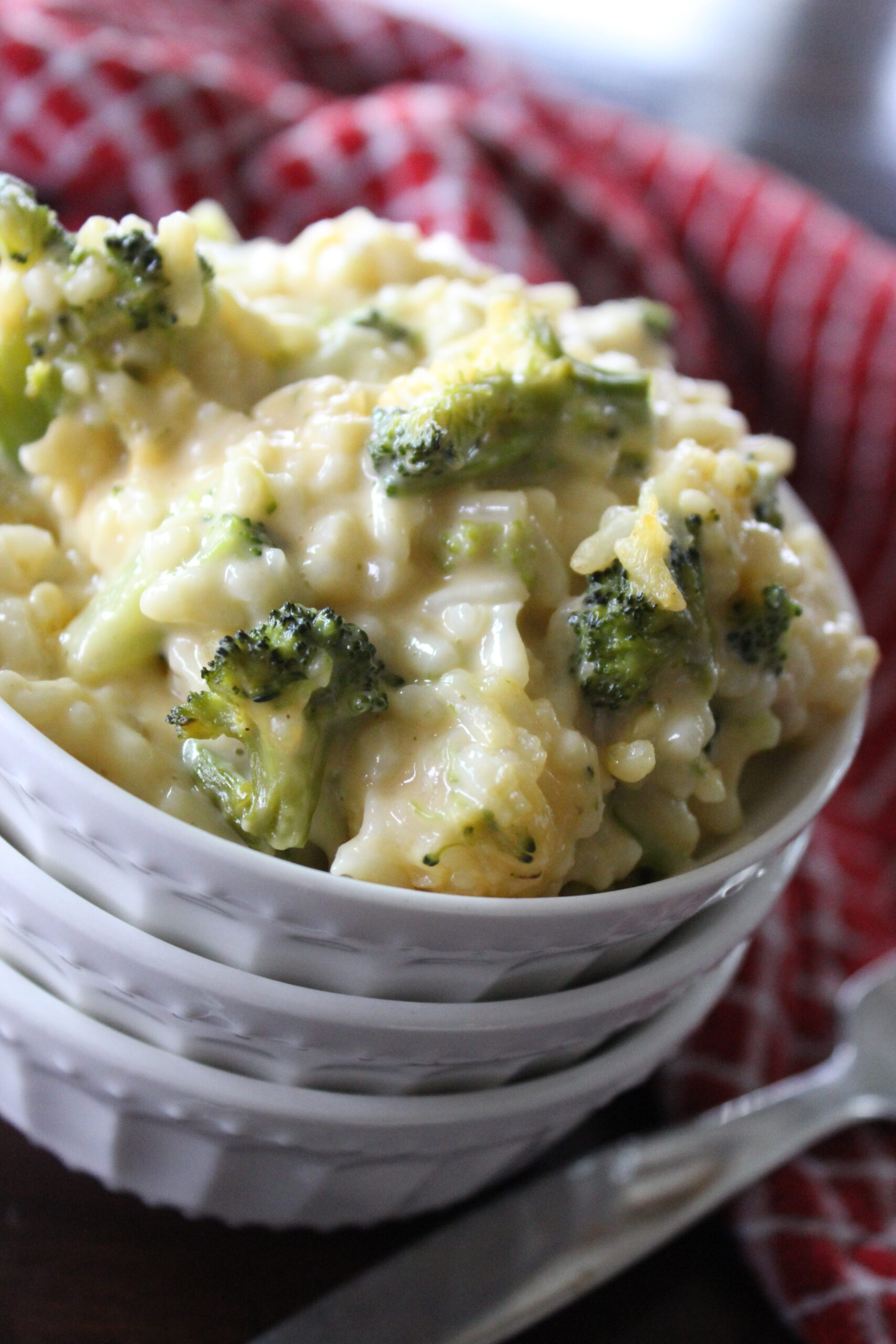 broccoli cheese and rice casserole in a bowl
