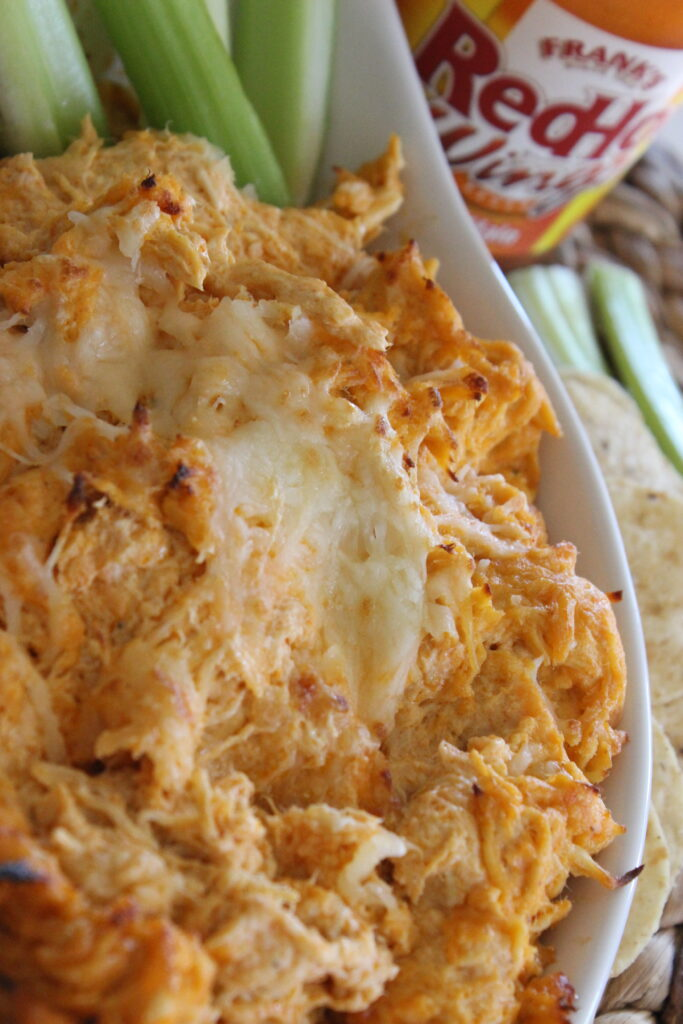 creamy buffalo chicken dip in a shite bowl with cheese melted on top
