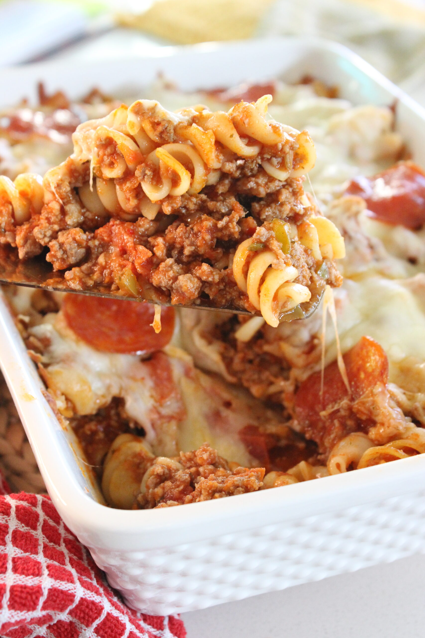 spoonful of pizza pasta bake