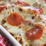pizza pasta casserole in a white dish